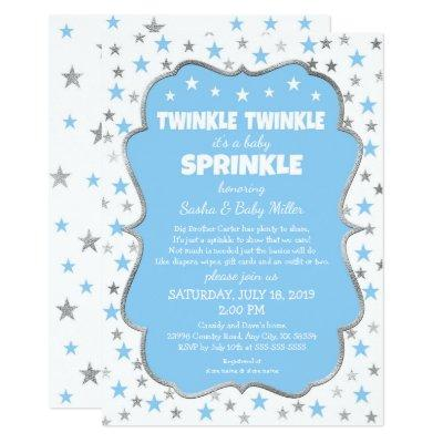 Twinkle Stars Baby Sprinkle boy invitations