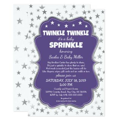 Twinkle Twinkle Baby Sprinkle purple invitations