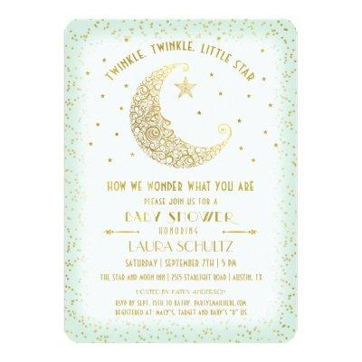 Twinkle Twinkle Little Star Baby Shower Gold/Mint Invitations