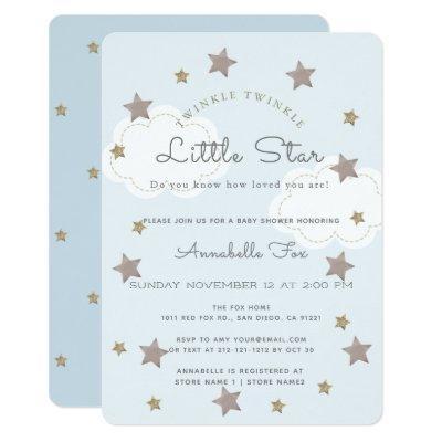 Twinkle Twinkle Little Star Blue Baby Shower Invitations