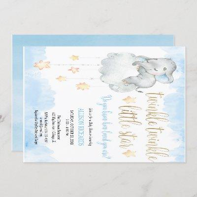 Twinkle twinkle little star blue gold baby shower invitation