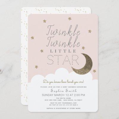 Twinkle Twinkle Little Star Blush Pink Baby Shower Invitation