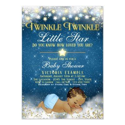 Twinkle Twinkle Little Star Ethnic Baby Boy Shower Invitation