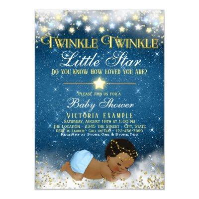 Twinkle Twinkle Little Star Ethnic Boy Baby Shower Invitations