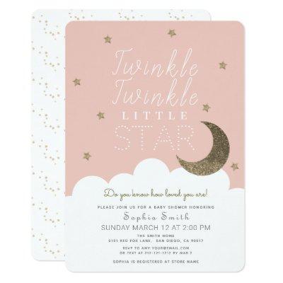 Twinkle Twinkle Little Star Pink Girl Baby Shower Invitation