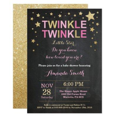 Twinkle Twinkle Little Star Pink Gold Baby Shower Invitation