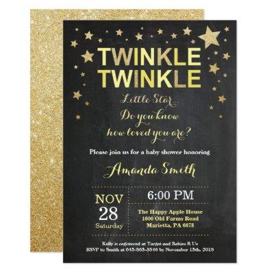 Twinkle Twinkle Little Star Yellow Baby Shower Invitations