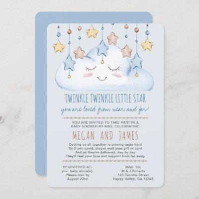 Twinkle Twinkle Poem Boy Baby Shower by Mail Invitation