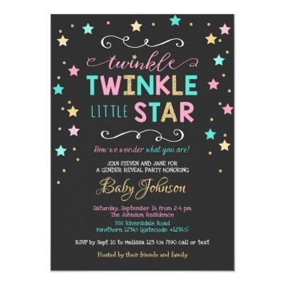 Twinkle Twinkle Star Baby Shower, Gender Reveal Invitation