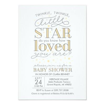 Twinkle Twinkle Star Theme Yellow Invitations