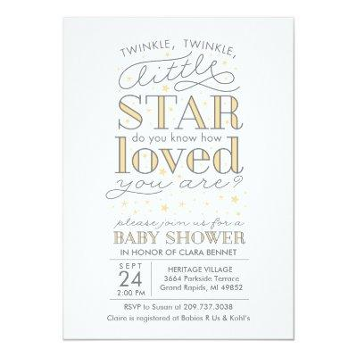 Twinkle Twinkle Star Theme Yellow Baby Shower Invitation