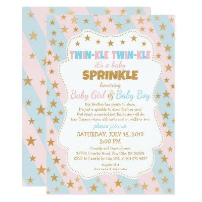 Twinkle Twins Baby Sprinkle, boy and girl twins Invitations