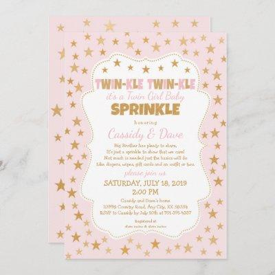 Twinkle Twins Baby Sprinkle, twin girls shower Invitation