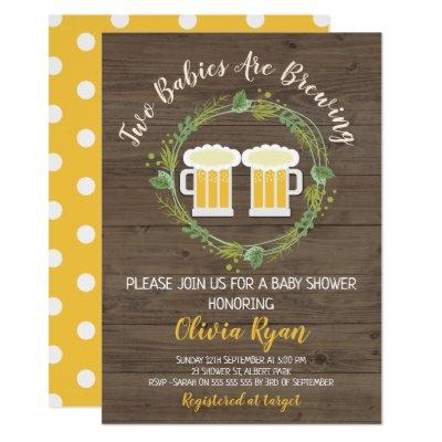 Twins Baby Brewing Baby Shower Invitations