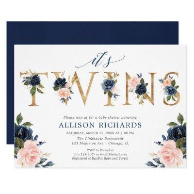 Twins baby shower, girl boy twins pink blue floral invitation
