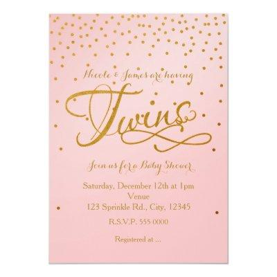 TWINS Baby Shower Girl Pink & Gold Dot Invitation