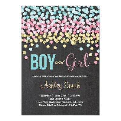 Twins Baby Shower Invitations pink blue Boy Girl