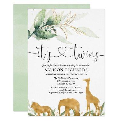 Twins baby shower safari animals greenery shower Invitations