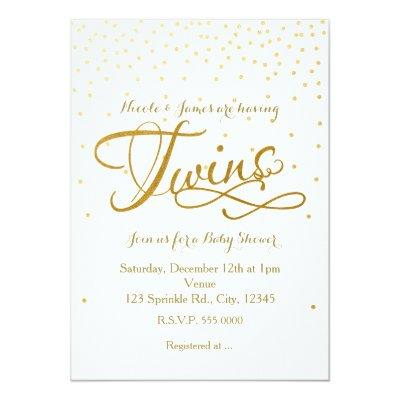 TWINS Baby Shower Unisex White & Gold Invitations