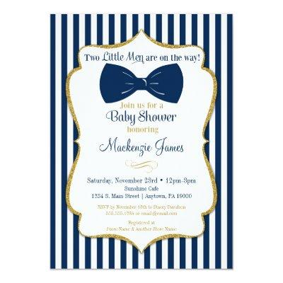 Twins Boy Baby Shower Invitations Blue Gold Bow Tie