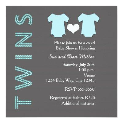 TWINS Boy Blue Twin Baby Shower Party Invitations