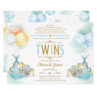 Twins Boys Elephant Virtual Baby Shower by Mail Invitation