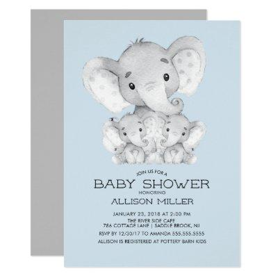 TWINS Elephant baby Shower Invitation