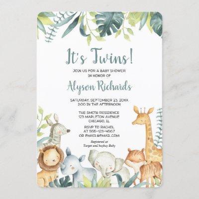 Twins gender neutral safari animals baby shower invitation