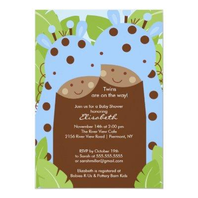 Twins Giraffe Baby Shower Invitation Twin Boys