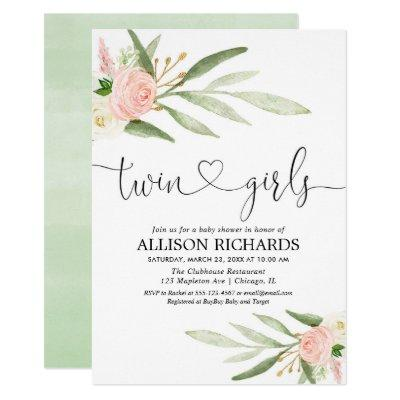 Twins girls, greenery gold pink floral baby shower invitation