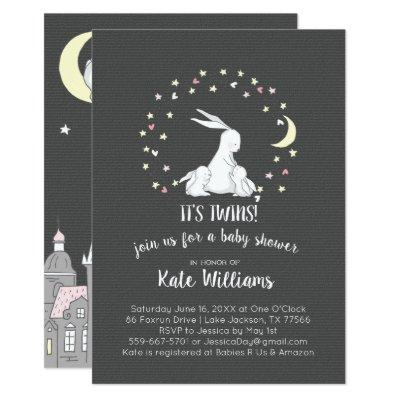 Twins Little Bunny Baby Shower Invitation