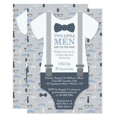 Twins Little Man , Blue Gray Invitations