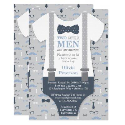 Twins Little Man Baby Shower Invitation, Blue Gray Invitation