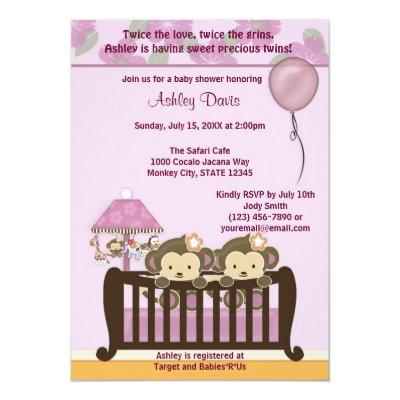 TWINS Monkey Baby Shower Invitation Crib ORCHID