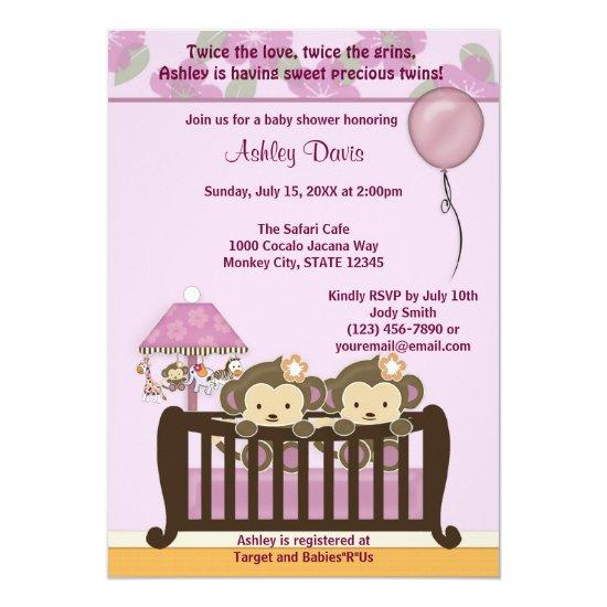 Twins Monkey Baby Shower Invitations Crib Orchid Baby Shower