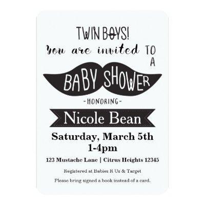 TWINS Mustache Baby Shower Black White Invitations