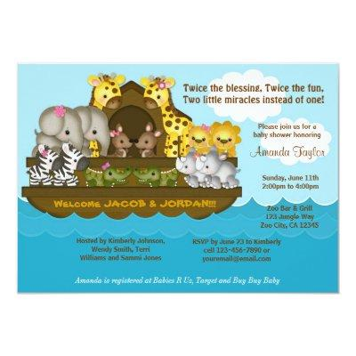 TWINS Noah's Ark Baby Shower Invitations