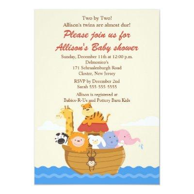 TWINS! Noah's Ark Boy or Girl Baby Shower Invitations