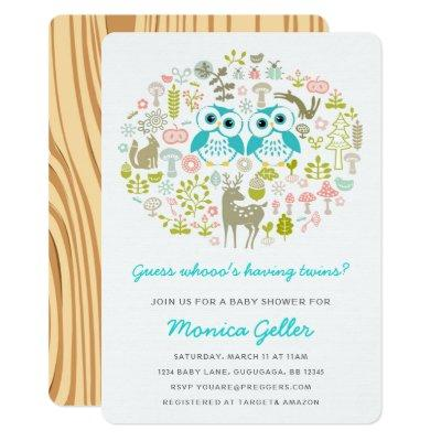 Twins Owl Baby Shower Invite