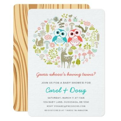 Twins Owl Baby Shower Invite Boy Gril