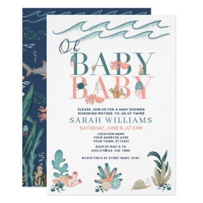Twins Under the Sea Watercolor Oh Baby Baby Shower Invitation