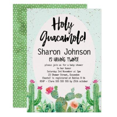 Twins Watercolor Cactus Baby Shower Invitations