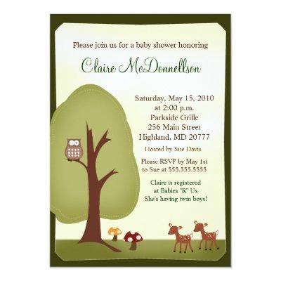 TWINS Woodland Forest  Baby Shower Invitation