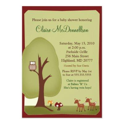 TWINS Woodland Forest  Baby Shower Invitations
