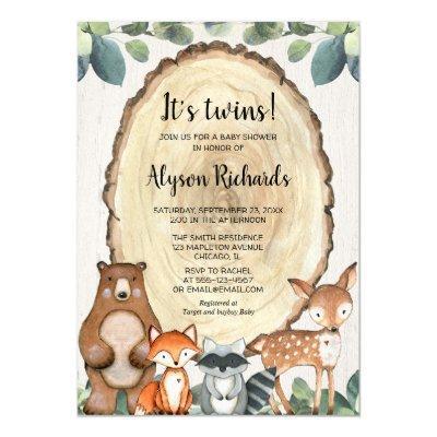 Twins woodland gender neutral animals baby shower invitation