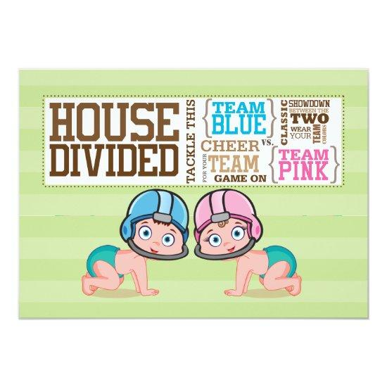 Two Babies Playing Football Gender Reveal Invite