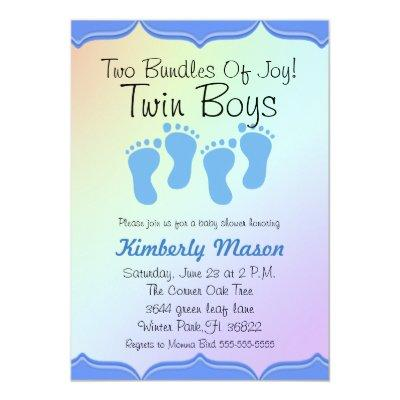 Two Bundles Of Joy Twin Boys Baby Shower Invite