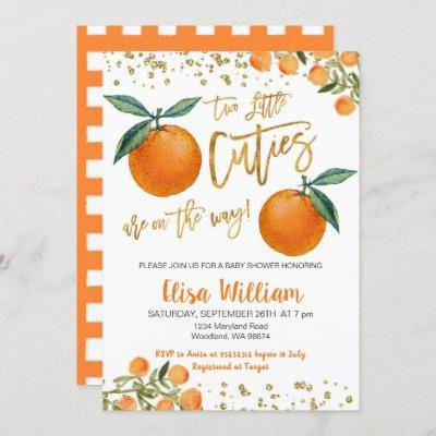 Two little cutie is on the way invitation