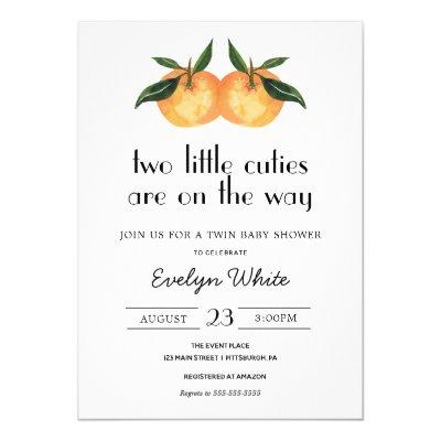 Two Little Cuties Are On the Way Twin Baby Shower Invitation