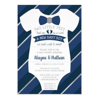 Two Little Feet Baby Shower Invitations, Bow Tie Invitations